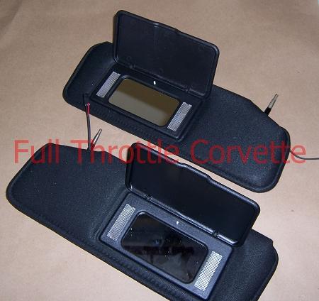 1986-1996 Corvette Replacement Sun Visors w Lighted Vanity Mirrors 9b446518411