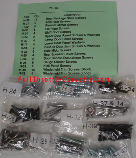 78 82 Corvette Interior Screw Kit