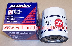 PF25 AC Delco Oil Filter with Classic AC Logo (White w/Red & Blue)