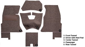 1961 - 1962 Corvette Carpet Set. Original Tuxedo Material with Foam Backing