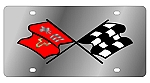 Stainless Steel License Plate with C2 Corvette Flags