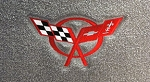 Lloyds Floor mats for C5 Corvette. Fits 97-04 Coupe or Convertible. Black with Red Logo